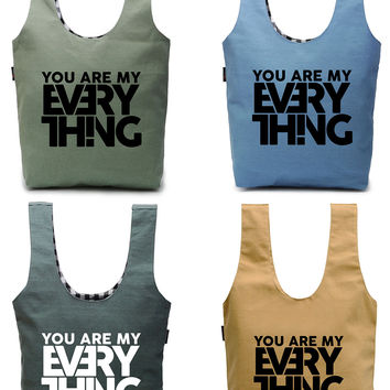 """Women """"You are my everthing"""" Vinyl Print Canvas Tote Bag WAS_03"""