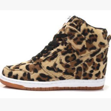 NIKE Hidden Heel Charm High Boots Height Increasing Women Sneakers Shoes Leopard