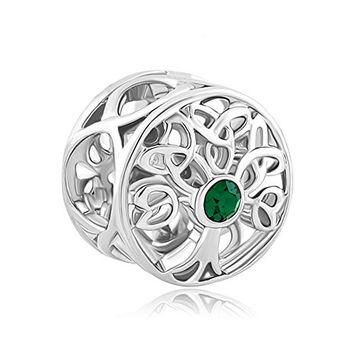 Pandora Charms Similar Style Silver Plated Lucky Family Tree of Life Green Birthstone