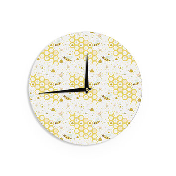 "Stephanie Vaeth ""Honey Bees"" White Yellow Wall Clock"