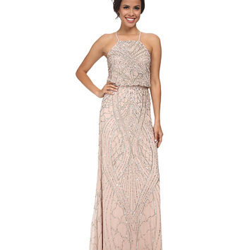 4c4cb909760 Adrianna Papell Halter Fully Beaded Gown Shell - Zappos.com Free Shipping  BOTH Ways