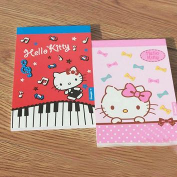 1 Pcs kawaii Portable Red Pink Notebook Cat Hello Kitty Series Planner Office School Notepad Book Lovely Stationery memo pad