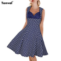 Tonval Sexy Women Summer Polka Dot Vintage 50s Dress 2016 Cocktail Party Prom Tunic Female Elegant Rockabilly Swing Dresses
