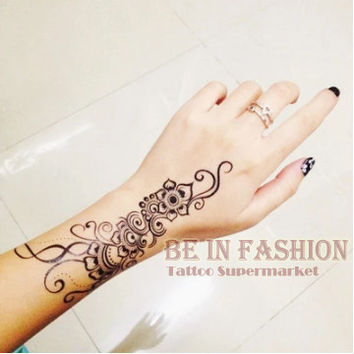 1piece Indian Arabic Trendy henna black tattoos temporary waterproof for arm shoulder hand flower fake tatoo sticker QS-C004