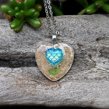 Mermaid Scale Necklace - Blue Heart Jewelry - Ocean Inspired Necklace made in Hawaii - Blue Mermaid Jewelry from Hawaii - Hawaiian Jewelry