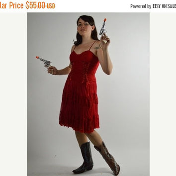 Summer Sale Red Dress, Vintage Dress, Saloon Girl, Lace Dress, Corset Dress, Pin Up Dress, Cowgirl Dress, Size Medium, Costume,