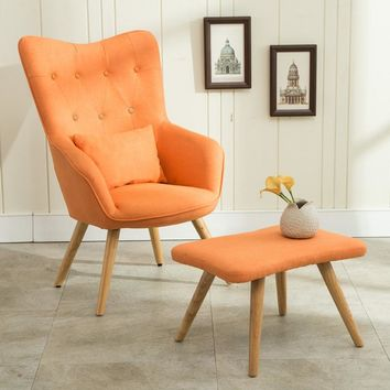 Mid Century Modern Armchair and Footstool Set in Linen Upholstery - Free Shipping
