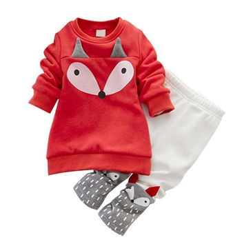 Kids Clothes Suits 1-4 Y Small Cartoon Fox Pattern Winter Cotton Thick Warm Velvet Long Sleeve Sweater Hoodies+Pants 2 Pcs Set