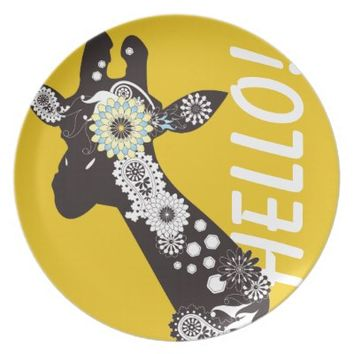 Funky Paisley Giraffe Personalized Girly Party / Dinner Plates: Wild Animal Cute and Funny Design Dishes