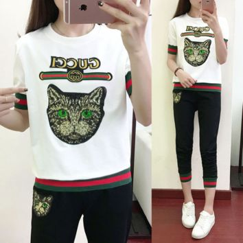 Gucci Fashion Women Green Eyes Cat Sequin Print Embroidery Letters Print Two Piece Green+Red Stripe Sports Suit White