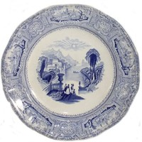 Antique J. Wedgwood Columbia Blue Transferware Pla
