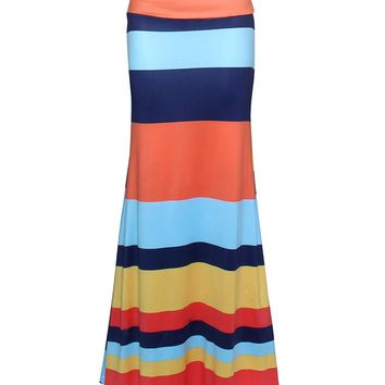 Streetstyle  Casual Color Block Striped Mermaid Maxi Skirt