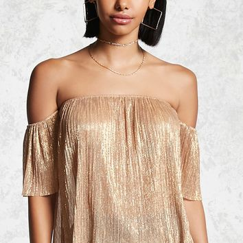 Metallic Off-the-Shoulder Top