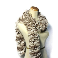 Ruffle Scarf, Brown and Tan Scarf, Knit Scarf, Hand Knit Scarf, Womens Scarf, Fashion Scarf, Fiber Art, Winter Scarf