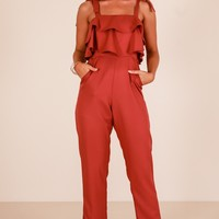 Familiar Face jumpsuit in rust Produced By SHOWPO