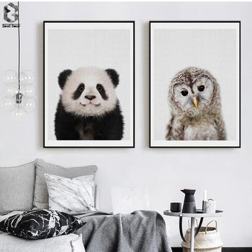 Panda Canvas Painting Nursery Wall Art Owl Posters and Prints Nordic Lovely Animal Picture for Kids Baby Boys Room Home Decor