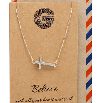 Naomi Sideways Cross Necklace, Christian Jewelry