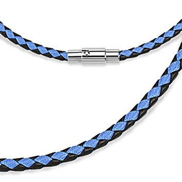 Spikes Blue and Black Weaved Leather Saddle Magnetic Lock Necklace