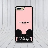 Top Coach.7o X Disney Mouse Logo Case For iPhone 6 6s 7 8 Plus Samsung Cover +