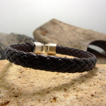 FREE SHIPPING. Men's bracelet.men gift,men leather bracelet,braided brown  leather,men's bracelet with wrapped ,silver plated clasp.
