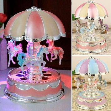 New Arrival LED Light Merry-Go-Round Music Box Christmas Birthday Gift Toy Carousel(US)