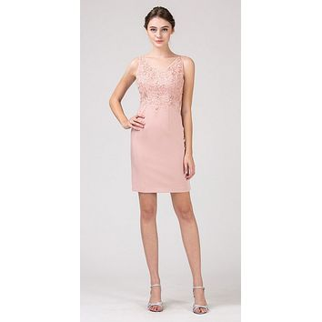 Blush Short Party Dress with Lace Appliques