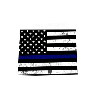 Wyoming Island Distressed Subdued US Flag Thin Blue Line/Thin Red Line/Thin Green Line Sticker. Support Police/Firefighters/Military