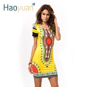 HAOYUAN Summer Dashiki Dress for Women 2017 Casual Mini African Print Sundress Ladies African femme Clothing Indian Dresses