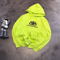 """Balenciaga"" Casual Fashion Letter Fluorescent Green Pattern Long Sleeve Hooded Sweater Women Hoodie Tops"