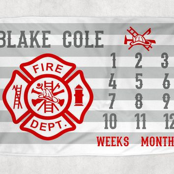 FIRE TRUCK Milestone Blanket, Fire Truck Month Growth Chart, Fire Truck Baby Boy Blanket, Personalized Baby Boy Shower Gift Newborn Gift