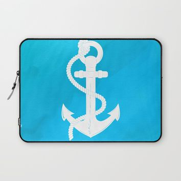 White Anchor Laptop Sleeve by Texnotropio