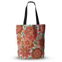 "Art Love Passion ""Flower Power"" Red Floral Everything Tote Bag"