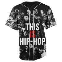 This Is Hip Hop Black Button Up Baseball Jersey