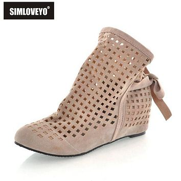 SIMLOVEYO Women summer boots Cut out Ankle boots Cute Flock Hidden heel Wedges Lace up Ladies Casual Shoes Big Size 40 41 42 43