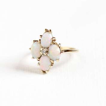 Vintage 10k Yellow Gold Opal & Created White Spinel Ring - 1950s Size 7 Flower Cluster Oval October Birthstone Hallmarked Dason Fine Jewelry