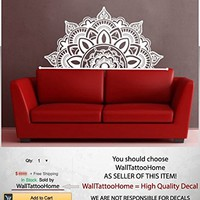 Half Mandala Wall Decals Headboard Vinyl Sticker Art Boho Bohemian Decor Yoga Namaste Decal for Bedroom Home Decor Room Ms782 (17 x 35)
