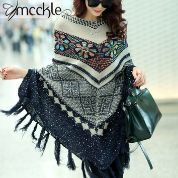2016 Pull Pullover Cardigan Womens Capes And Ponchoes Winter Cape With Tassel Women's Sweater Fashion Vintage Bohemian Zy631