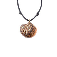 Seashell Jewelry, Seashell Pendant, Seashell Necklace, Nautical Jewelry, Beach Jewelry, Wood Seashell Pendant, Carved Pendant, Wood Jewelry