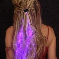 Firefly 2x Shining LED light up hair extensions girls stocking filler clip pony tail fiber optic