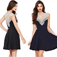 Black Cutout Lace Fit and Flare Dress