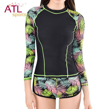 Surf Rashguard Women Protection Surf Rash Guard Swimming Long Sleeve Swimsuit For Women Thermal Swimwear Black Surf-clothing