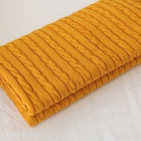 CottonTex Cotton Knitted Cable Throw Soft Warm Cover Blanket Cable Knitting Pattern, 43x70 Inches, Royal Yellow