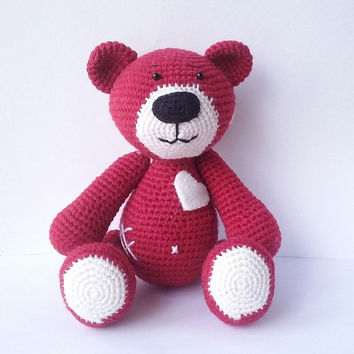 Bear with Heart. Bear Pattern. PDF file amigurumi crochet pattern. DIY handmade toy.