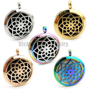 Round Silver Lotus Flower 20mm, 25mm and 30mm Stainless Steel Essential Oils  Aromatherapy Diffuser Locket Necklace