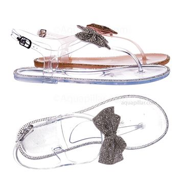 Jelli42 Clear PVC Jelly Rhinestone Crystal Bow Sandal - Women Thong Slip On