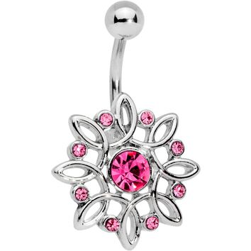 Pink Gem Twisted Bliss Flower Belly Ring