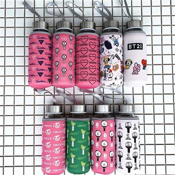 KPOP BTS Bangtan Boys Army    Boys Cartoon BT21 Bottles Winter Warm Bottle BLACKPINK EXO GOT7 TWICE WANNA ONE Glass Bottle Thermos Cup 300ml AT_89_10