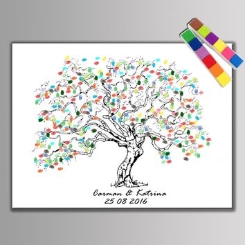 Hot!! Fingerprint Signature Guest Book Wedding Gift Party Supplies Baby Shower Fingerprint Tree Wedding Decoration