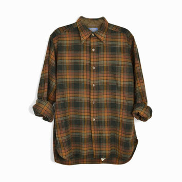 Vintage Pendleton Plaid Wool Shirt in Brown - Men's 1980s Pendleton Lodge Shirt