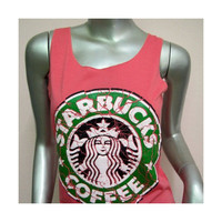 STARBUCKS Coffee T-Shirt Women shirt Tank Tops vest sleeveless shirt silkscreen shirt Rock Punk classic backless charity Pink K37 Size S